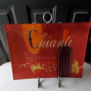 Wine Themed Decorative Glass Serving Platter